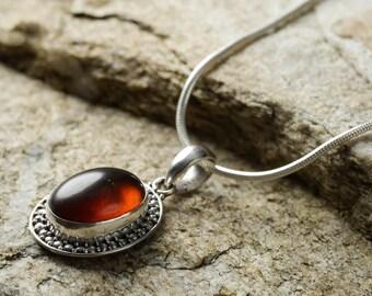 3.5cm Sterling Silver Bezel Set Natural Amber Pendant - Jewelry Making Amber Cabochon Pendant J696