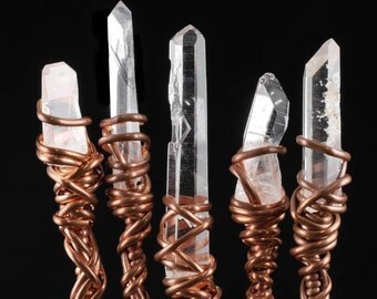 "7.5"" CLEAR QUARTZ Crystal Wand - Copper Wire Wrapped Crystal Quartz Wand with Natural Columbian Lemurian Crystal Point - Fairy Wand E0131"