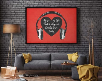 Music is life printable, music quote, music art, instant digital download, our hearts have beats, birthday gift, red, headphones, musician