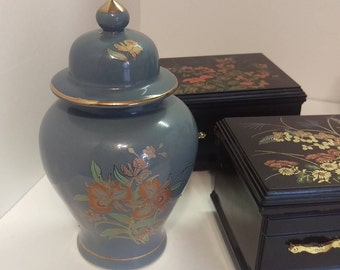 Small, apartment sized oriental Vase,  beautiful celadon vase with a deep blue-grey color with lily design and gold trim, made in Japan