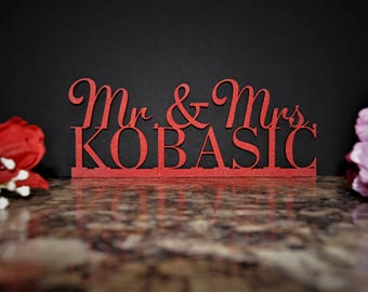 Custom Name Sign. Mr & Mrs Wood Sign. Personalized Name Sign. Mr and Mrs wood cut last name. Custom Wood Last Name Sign Laser cut wood name