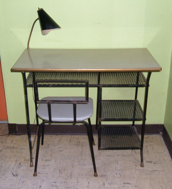 1950's Mid Century Modern Desk - Original Lamp & Chair | Loroman | Black Steel + Blonde Formica | Local Pick Up - Chicago Illinois