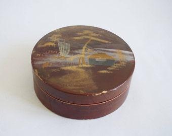 Boîte en bois laqué, boite à bijoux, boite japonaise en bois,