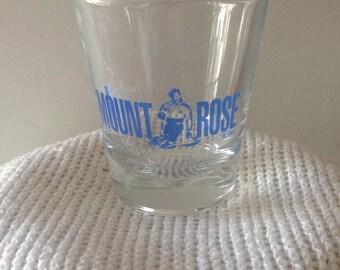 Vintage Mount Rose Souvenir Shot Glass/Jigger/Swanky Swig---Mount Rose Ski Resort At Lake Tahoe--Reno Nevada--Souvenir Bar Decor