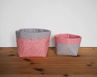 Baskets storage in coral and gray cotton printed small white triangles / nursery / reversible baskets / tissue baskets