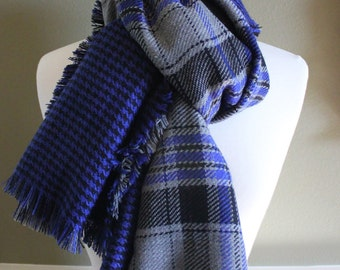 Reversible Royal Blue Gray and Black Houndstooth Plaid Flannel Scarves