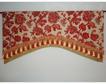 "Red Gold Gray Jacobean Floral Linen Layered Window Valance Gold Leaf Pattern Accent Fabric Tassel Trim 40"" wide"