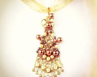 """Twisted Talisman Necklace, Handmade with glass beads """"Victoria's Fan""""  OOAK"""