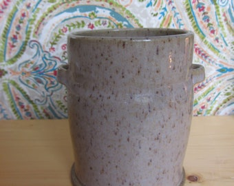 Pottery kitchen utensil holder, speckled kitchen crock, handthrown pottery spoon holder, pottery crock