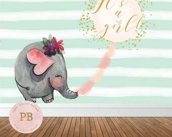Digital Elephant Baby Shower Backdrop, Its a girl Backdrop, Sweet Table Backdrop, Photobooth Backdrop, Party Sign
