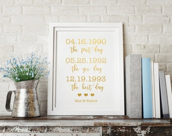 Gold foil print, Valentines Day gift, Valentines Day print, Anniversary gift, Gift for wife, First Day Yes Day Best Day print, Custom print