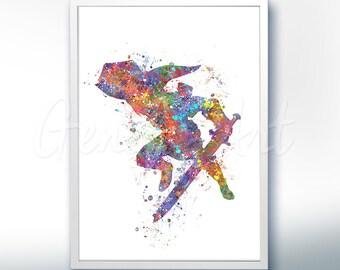 The Legend of Zelda Link [3] Watercolor Art Poster Print - Wall Decor - Watercolor Painting - Watercolor Art - Kids Decor- Nursery Decor