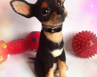 Toy Terrier MADE TO ORDER needle feted puppy Felted sculpture Gift Puppy Felted terrier sculpture Felted miniatures Wool felted Terrier