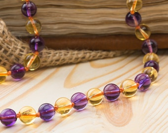 Amethyst necklace citrine necklace bead jewelry boho jewelry colorful beaded necklace yellow jewelry purple necklace cover necklace gift