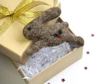 Running Hare Brooch, Leaping Hare Brooch, Needle Felted Hare, Hand Embroidery, Festive Hare, Hare Jewellery, March Hare, Gift for Friend