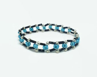 Beaded Blue Bracelet, Glass Bead Bracelet, Boho Beaded Bracelet, Women's Bead Bracelet