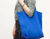 cobalt blue linen tote bag / packable and lightweight