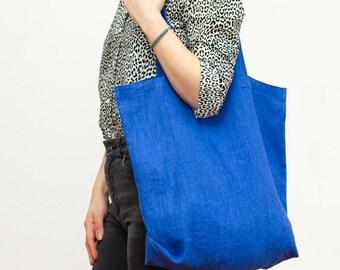 linen tote bag / cobalt blue / packable and lightweight