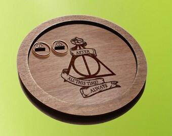 harry potter wedding / ring bearer pillow / ring dish  / wedding ring plates / harry potter ring holder / ring bearer pillow alternative