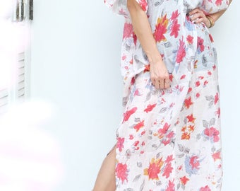 Maxi Dress, Cover up, V-Neck Short Sleeves, Swimsuit Bikini Cover Up, Sexy Beach Dress, Beige Red Flower Print Chiffon, Housewife Dress