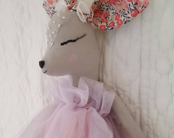 Small deer doll in linen gray