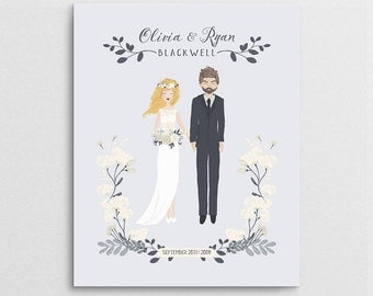 Wedding Portrait - Couple Portrait - First Anniversary Gift - Wedding Gift - Couple Illustration - Semi Custom Portrait - Bridal Shower Gift