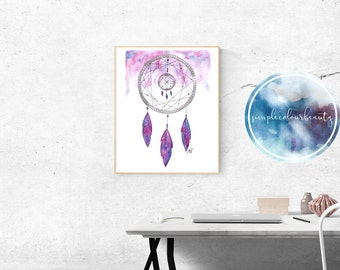 PRINT - Galaxy Dreamcatcher Watercolour Print