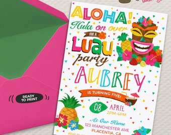 Luau Birthday Invitation DIY Summer Printable Party Hula Tiki Hawaiian