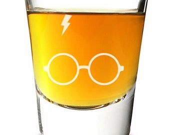 Engraved Shot Glass - Harry Potter Lightning Bolt - (1pc)