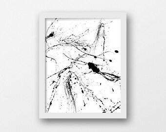 Jackson Pollock, Paint Art, Digital Download, Minimalist Design, Neutral Art, Black White Print, Minimalism, Abstract Printable, Kitchen Art