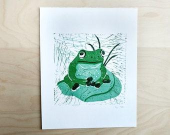 Froggy Print - Nonprofit Wall Art - Made in San Francisco - Frog Print - Printmaking - Frog Linocut Print - 8X10 inch