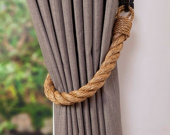 Extra Thick Manila Rope Curtain Tiebacks / chunky ties /shabby chic tiebacks/ rustic ties/ curtain holdbacks/nautical tie-backs/ beach house
