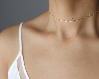 Dainty Gold Choker Necklace - Gold Chain Choker - Delicate Gold Shimmer Choker - Minimalist Jewelry - Layering Necklace - Gift for Her