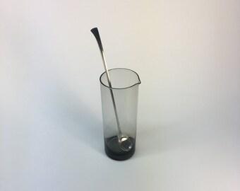 Cromargan Germany smoked glass pitcher and stirrer