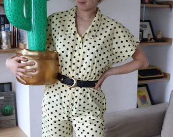 Polkadots vintage jumpsuit size 36 100% Cotton
