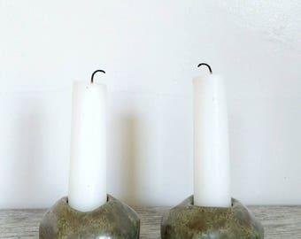 Metallic Green Rock Candlestick Holders; Pottery; Handmade Ceramics; Home & Living; Decor