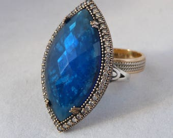 925 Silver OTTOMAN ring with aquamarine and topaz and finished with bronze