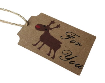 Set of 8 Christmas Red Nose Reindeer Gift Tags with Bakers Sparkle Twine