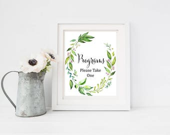 Botanical Programs Printable Sign, Greenery Programs Wedding Sign, Boho Ceremony Sign, Foliage Take Program Sign, Instant Download 105-A
