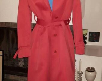 Vintage London Fog 'Maincoats' Rain Jacket - Coral Women's London Fog Imaginit Trench Coat - Vintage Rain Coat Trench Coat
