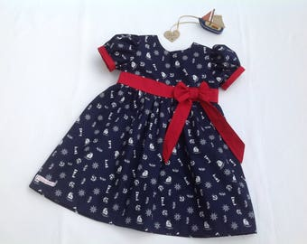 Baby's Nautical dress, 4th July, girls dress, red white and blue, girls clothing, boats, navy, summer dress, party dress