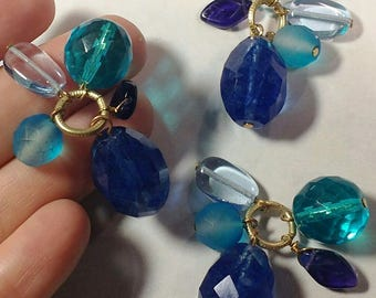 Blue crystal faceted dangle charm