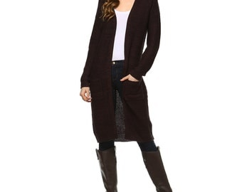 Fashionazzle Women's Open Front Knit Long Sweater Cardigan with Pocket Brown/Black