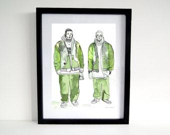 Urban Street Style Green Boys Illustration Art Print