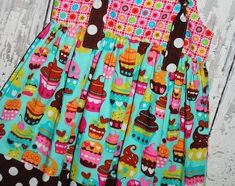 SALE 25% off, Girls Knot Dress, Birthday Dress, Cupcakes, Size 4 Ready to Ship
