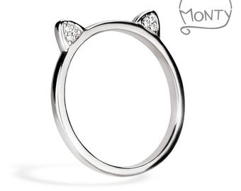 Meow - Sterling Silver Ring (Rhodium Plated with Zircon Crystals)