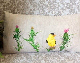 Pillow Cover 12х22/Hand-painted/Lumbar/Flower Garden/Indoor/Outdoor/Cushions/Nature/Nursery/Decor/American Goldfinch\yellow bird\Wild Canary