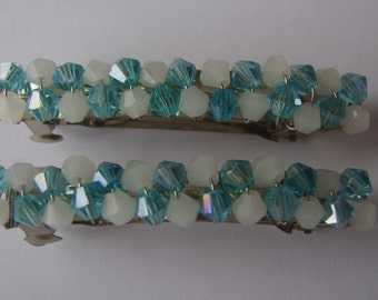 Turquoise blue and white beaded hair clip, beaded barrette, hair accessory