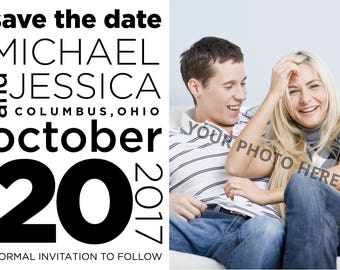 Save the Date - Text and photo - Fully customizable - DIGITAL design, print yourself