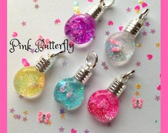 Pink Butterfly Snowglobe Necklace,snowglobes,snow globes,tiny bottle jewelry,kids jewelry,kids necklace,animal necklaces,butterfly charms